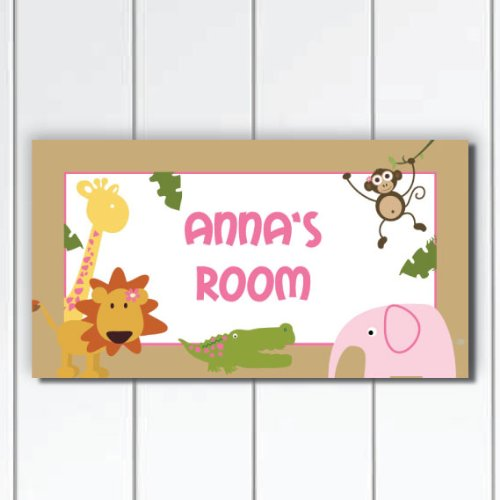 Jungle Safari Animals with Lion, Alligator, Giraffe and Elephant Personalized Nursery Baby Girls Door Sign Plaque