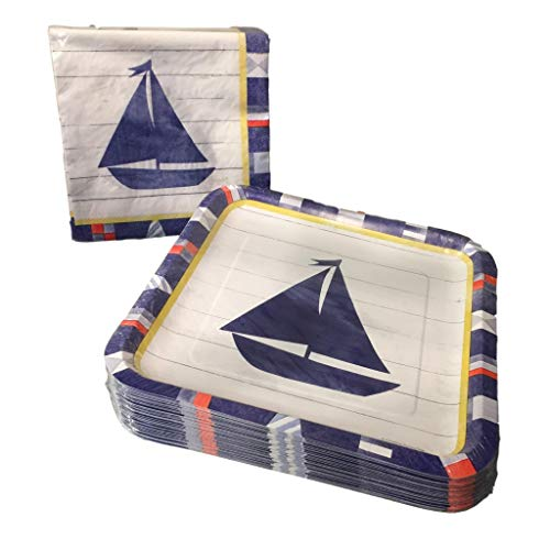 Nautical Sailboat Napkin and Paper Plate Bundle - 50 Count -