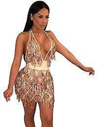 35d136d730 Women s Glitter Sexy Deep V Neck Sequin Beaded Halter Bodycon Mini  Nightclub Party Dress