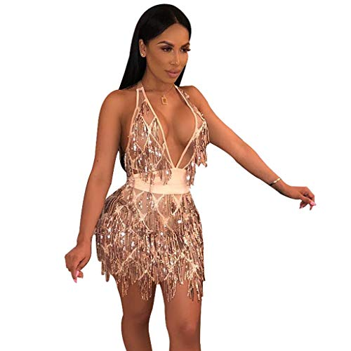 (L'VOW Women's Glitter Sexy Deep V Neck Sequin Beaded Halter Bodycon Mini Nightclub Party Dress (M, Champagne) )