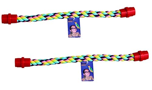 """Birds LOVE Set of 2 Cotton Rope Comfy Cable Perches for Birds 16.25"""" Length Perfect for Cockatiels Parrotlets Conures Caiques Senegals Quakers and Similar Sized Birds"""