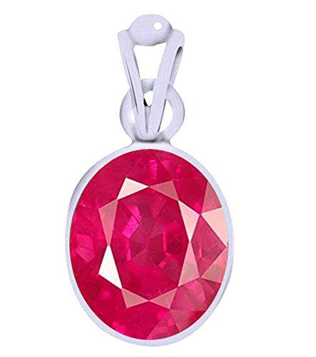 Divya Shakti 7.25 - 7.50 Carats Ruby Pendant / Locket ( Maanik / Manikya Stone Silver Pendant ) 100% Original AAA Quality Gemstone Carats Ruby Sapphire Beads