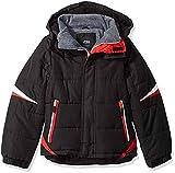 London Fog Boys' Big Active Puffer Jacket Winter Coat, Super Black, 10/12