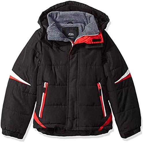 London Fog Boys' Big Active Puffer Jacket Winter Coat, Super Black, 10/12 (10 12 Boys Winter Coats)