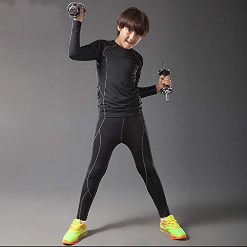 BUYKUD Kids Boys Long Sleeve Base Layer Compression Athletic Tights Underwear Baseball Soccer Top Shirt