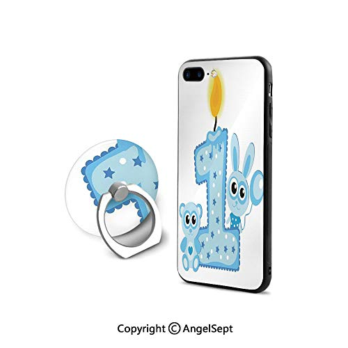 iPhone 7/8 Case with 360°Degree Swivel Ring,Boys Party Theme with a Cake Candle Rabbit and Bear,for Girls,Baby Blue and Light Blue