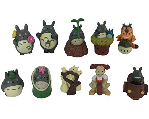 Cat Bus Totoro Costume (New Design My Neighbor Totoro/Cat bus etc Cute Studio Ghibli miniature figurines Set of 10 Refined Bauble Toy Playthings)