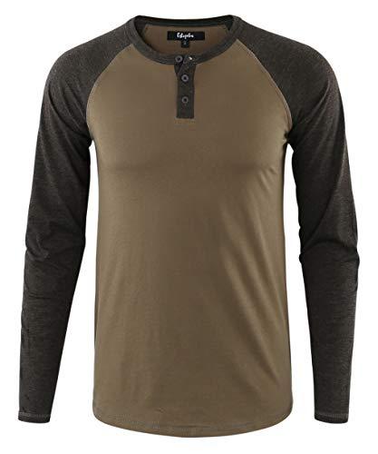 Estepoba Mens Athletic Regular Fit Long Sleeve Active Henley Shirt Baseball Tee Army/H.Charcoal ()
