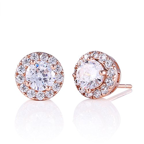 GULICX Halo Stud Opal Earrings Rose Gold Plated Round CZ Cubic ()