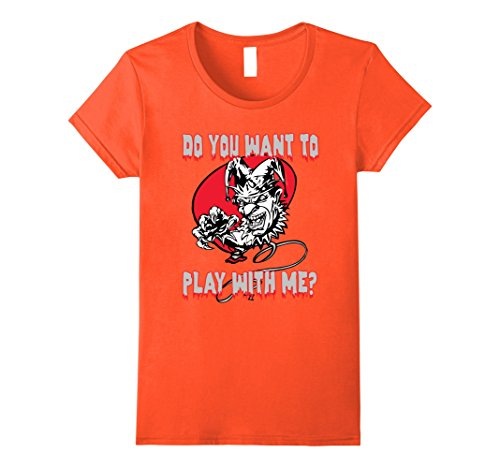 Female Psycho Clown Costume (Womens Scary Clown Do You Want To Play With Me T-shirt Tee Large Orange)