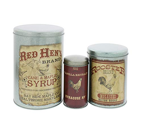 Farmhouse Rooster Tin Canisters, Set of 3 Assorted