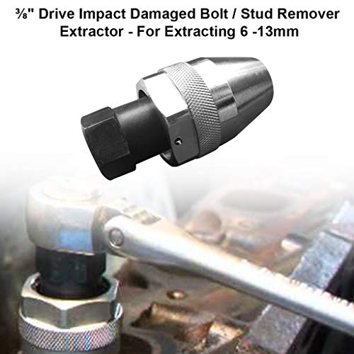 charts_DRESS ⅜ Drive Impact Damaged Bolt/Stud Remover Extractor - for Extracting 6-13mm (Silver,Black)