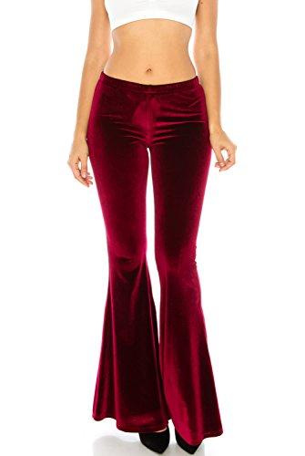 Velvet Bell Bottom Pants (Women's Velvet Elastic Waist Flared Stretch Bell Bottom Palazzo Pants (Medium, Burgundy))