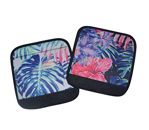 - Hang Accessories 2 PC Set Beach Please & Pineapple Pink Print Neoprene Comfort Grip Luggage Handle Wrap Suitcase Idenitfier (Tropical Palm & Hisbiscus Palm)