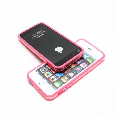 iPhone SE / 5 / 5s BUMPER Hülle Case Schutzhülle Schutz Handy Tasche Etui Farbe Pink Mitte Transparent