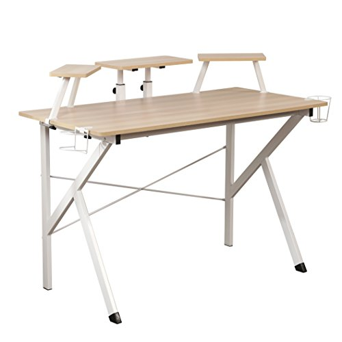 DlandHome Gaming Desk 47 Inches w/Adjustable Display Speaker Stand & Headphone Gamepad Holder Multifunction Computer Desk/Gaming Table, Maple DWK-YX001-M (Frame Maple Grade Paint)