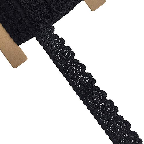(Lace Realm 1 Inch Wide Black Stretch Floral Pattern Lace Ribbon Trim for Sewing, Gift Package Wrapping, Floral Designing & Crafts-5 Yards(5301 Black))