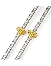 HAWKUNG 2pcs 300mm/350mm/400mm 8mm T8-2 Stainless Steel Threaded Rod Lead Screw with T8 Nut for 3D Printer Machine Z Axis