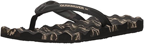 Quiksilver Men's Massage 3 Point Flip-Flop Sandal, Black/Green/Green, 7 M US Quiksilver Mens Point
