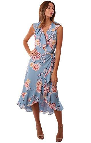 - Yumi Kim Dresses Ruffle V Neck Floral Printed Silk Wrap Midi Dress - Light Blue - L