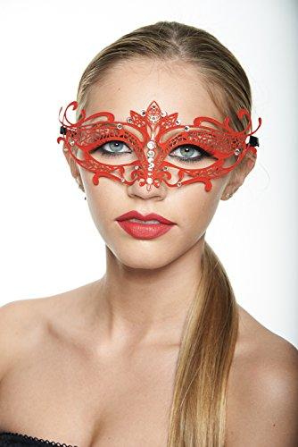 [KAYSO INC Tiara Design Laser Cut Masquerade Mask, Red w/ Clear Stones] (Red Masquerade Mask)