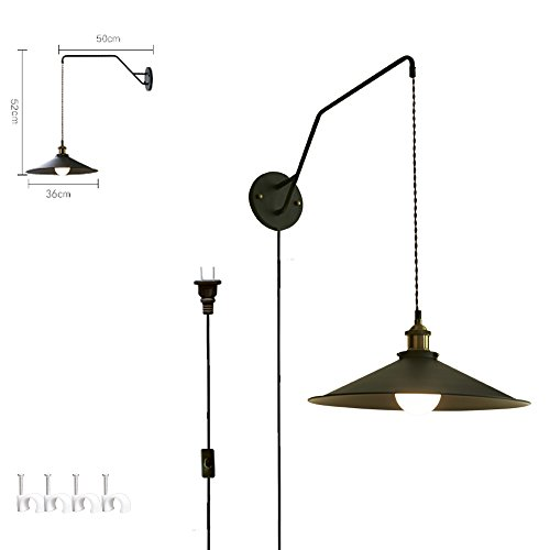Swinging Wall Lamp (KIVEN Black Metal Industrial Adjustable Wall Sconces PLUG IN UL LISTED Iron Swinging Wall Lamp 6 Foot Black Cord(BD0286))