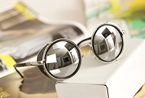 Mirror lens Round Glasses Cyber Goggles Steampunk Sunglasses(light silver (Steampunk Sunglasses)