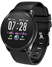 moreFit Vogu Smart Watch,IP68 Waterproof Activity Tracker Color Screen Watch with Heart Rate Monitor,Fitness Tracker with Sleep Monitors,Pedometer Stop Watch with Step Calorie Counter, Great Gift