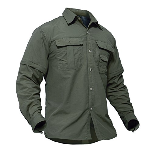 (TACVASEN Outdoor Sport Military Tactical Battle Ripstop Long Sleeve Shirt for Men Army Green,X-Large)