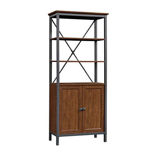 Sauder 422131 Carson Forge Bookcase with Doors, Milled Cherry -