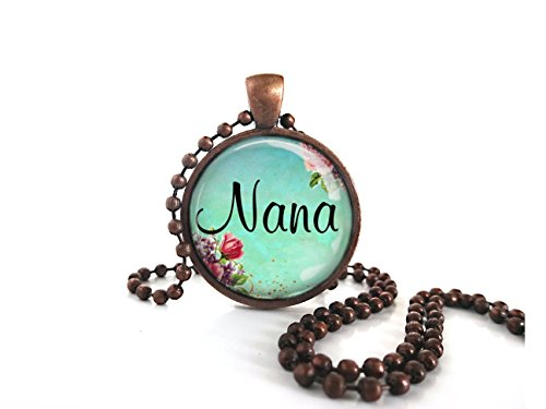 Nana Victorian Turquoise Roses Round Glass Dome Antique Copper Necklace W/ball ()