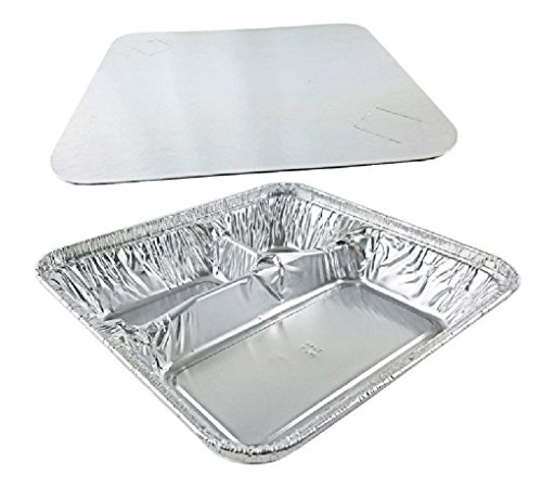 Large Aluminum 3Compartment Oblong TV Dinner Tray Pan w/Lid 25/PK