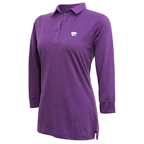 NCAA Kansas State Wildcats Women's Campus Specialties 3/4 Sleeve Jersey Polo, Heather Purple, Large