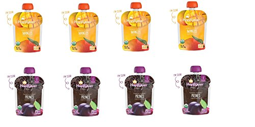 8 packs Happy Baby Clearly Crafted Organic Baby Food Stage 1, 4 packs of Mango , 4 packs of Prunes 3.5oz.