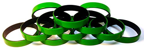 1 Dozen Multi-Pack Green ColorSpray on Black Wristbands Bracelets Silicone Rubber - Select from a Variety of Colors (Green on Black, Adult (8