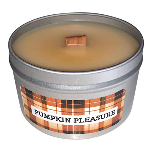 The Plaid Stallion Pumpkin Dessert Fall Thanksgiving Scent (Pumpkin Pleasure), Wooden Wick Scented Candle, 8oz Tin