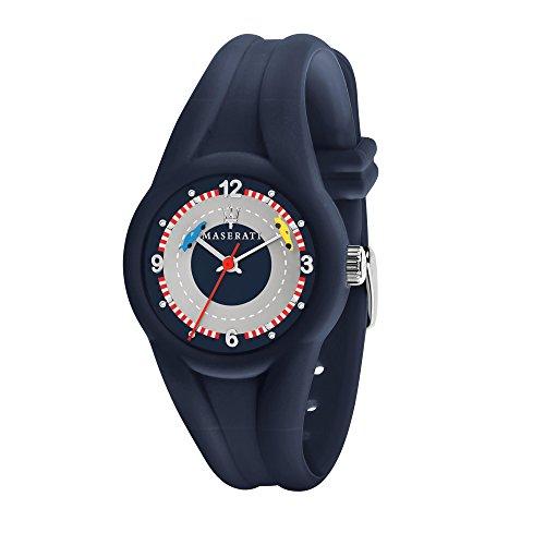 MASERATI Men's 'Campione' Quartz Plastic and Silicone Fashion Watch, Color:Blue (Model: R8851135002