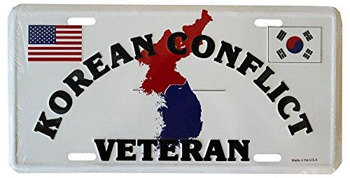 Flagline Korean War Veterans - 6 in x 12 in Metal License Plate