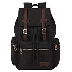 Kaxidy Multi-function Vintage Canvas Leather Hiking Travel Military Backpack Messenger Tote Bag (Black)