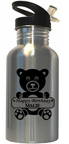 Macie Top - Happy Birthday Macie Stainless Steel Water Bottle Straw Top