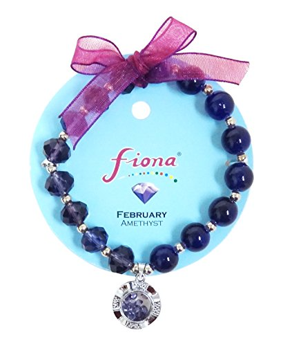 Linpeng Fiona Crystal Spinner Lucky Charm Birthstone Color Stretch - 31 Glasses Feb