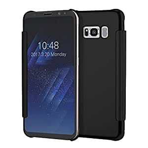 Samsung s8 electroplated mirror leather case with intelligent sleep wake.