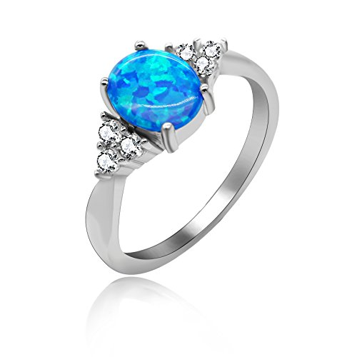Uloveido 2.96g Solitaire Accent Ring Oval Lab Created Blue Fire Opal Round Cubic Zirconia 925 Sterling Silver Anniversary Ring Size 6 JZ125