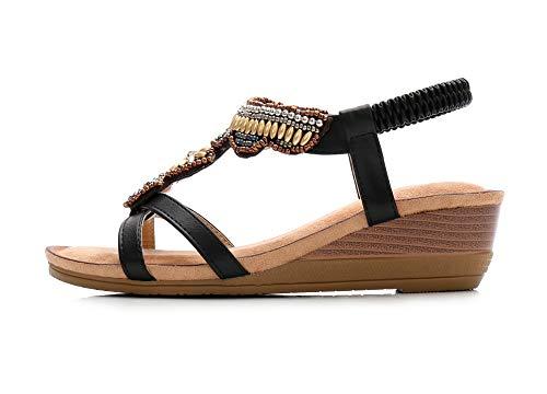 JDS® Chaussures Bout à Compensées Sandales Strass Dame Fortuning's Noir Ouvert Bohême Design Perlés Rétro PIqUTd