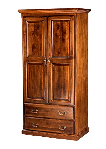 (Forest Designs Traditional Antique Wardrobe: 72W X 72H X 21D w/ Two Drawers Natural Alder)
