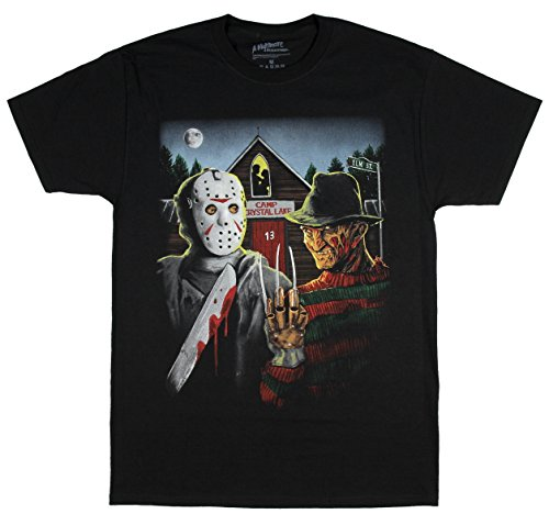 A Nightmare on Elm Street Freddy Krueger & Jason Graphic T-Shirt - -
