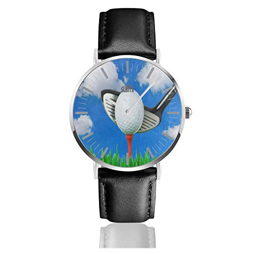 Watch Golf Ball Blue Sky Cloud Amazing Wrist Watches Quartz Stainless Steel and PU Leather for Unisex