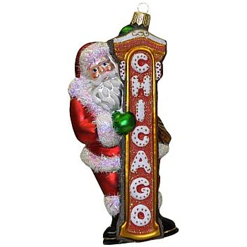 chicago christmas ornament santa claus with chicago sign - Chicago Christmas Ornament