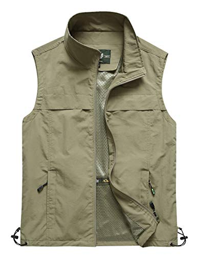 Yimoon Men's Outdoor Lightweight Fishing Safari Travel Zip Vest (02 Khaki, Small)