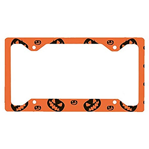 Cukudy Style in Print Halloween Background Pumpkins Auto Car License Plate Frame Tag Holder ()